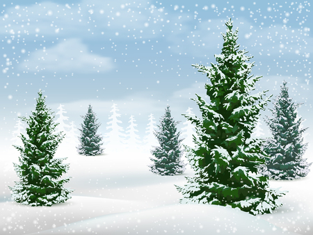 Winter landscape with fir trees. Frosty day in a pine forest. Vector background. 向量圖像