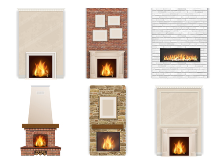 Vector set of fireplace on a white background with fire and firewood. Element for interior decor in different styles. Vectores