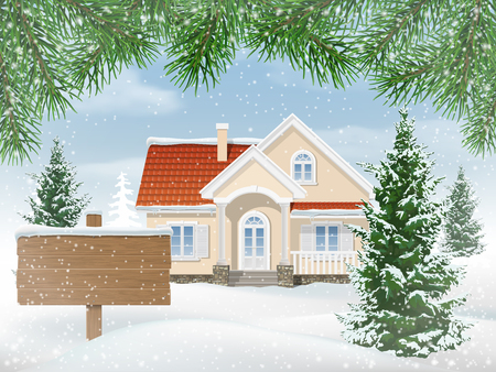 Suburban house in snow. Firs trees in the front garden. Wooden sign for sale.