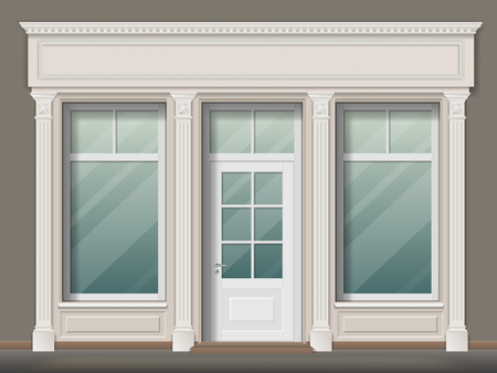 Store or boutique front with big window and column.