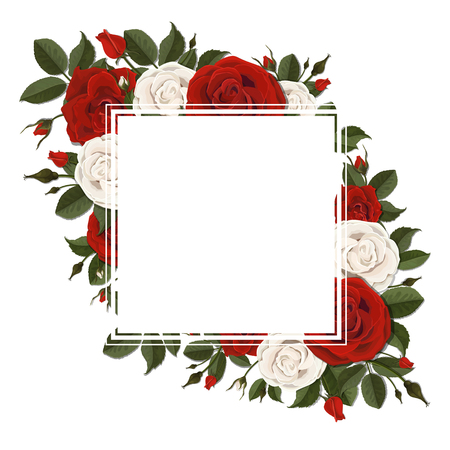 Square greeting card on red and pink blooming rose flowers. Floral wreath.