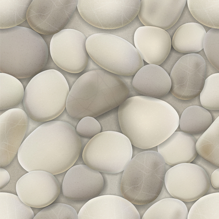 River pebble seamless pattern. Vector realistic background of white and gray stones.