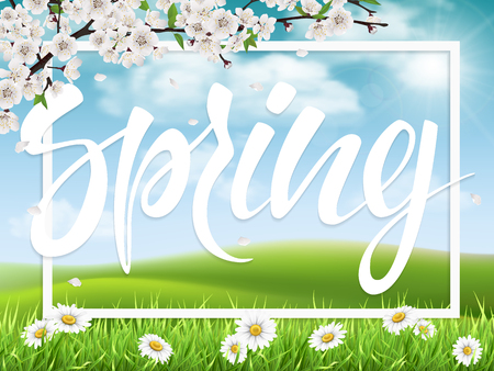 Lettering spring on landscape background. Blooming cherry branch and white frame. Springtime vector greeting card. Illustration