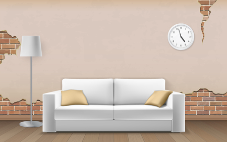 White sofa on old wall background. Shabby cracked plaster. Interior fragment of the room. Realistic vector illustration.