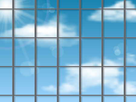 Sky reflection in the skyscraper wall. Vector architectural background.