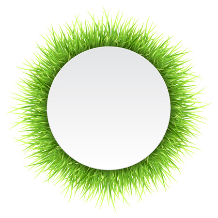 Circle label with green grass. Detailed vector natural frame. Template for the design of eco concept card and banner.