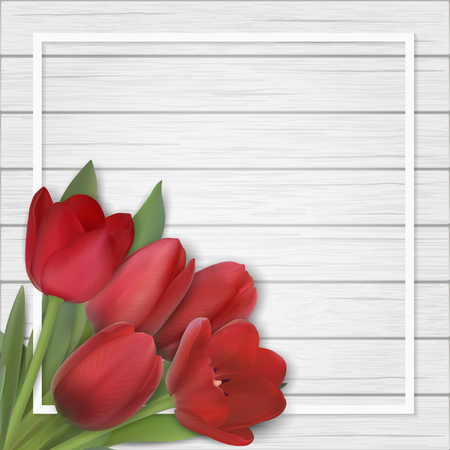Red tulip bouquet on white wooden background. Flowers in the corner of the frame. Template for greeting card on mothers or womans day. Realistic vector background for Invitation or spring sale.
