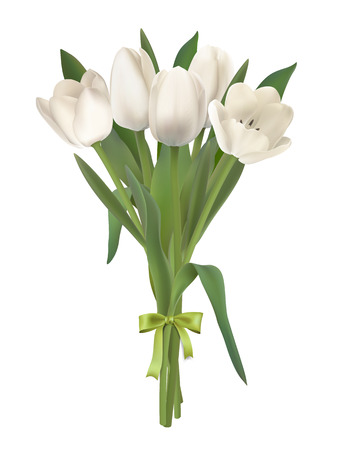 Bouquet of white tulips. Realistic vector.