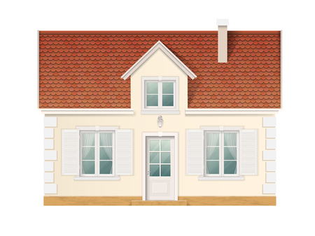 Small cute residential house. Front view of suburban building. Vector detailed illustration.