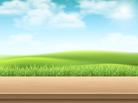 Empty wooden table on landscape with grass background.