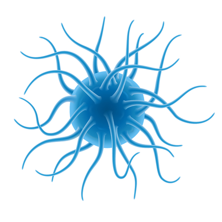 A fictional microorganism, a virus or a bacterium on a blue background with a blur effect. The tentacles give the creature a harsh and ugly appearance. Illustration