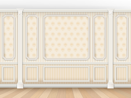 Luxurious classic interior in classical style with moldings and pilasters. Wallpaper on the walls in the damask pattern. Interior background. Vector realistic illustration.