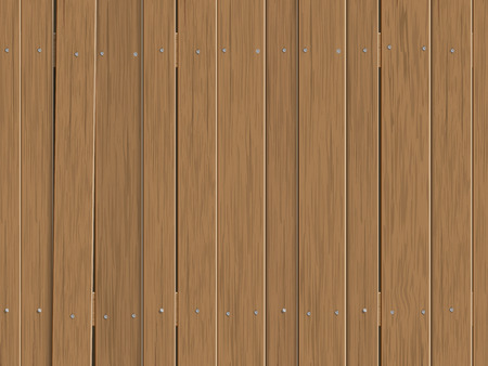 Wooden fence made of vertical slats. Seamless vector background.