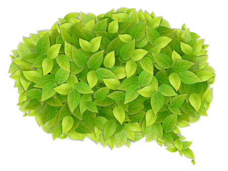 Speech cloud of green leaves. Background for ecological labels.