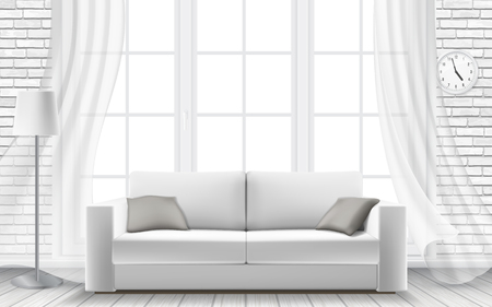 Modern interior of a living room or studio Vector 3d realistic style.