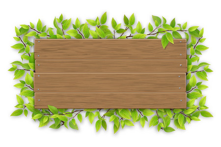 Empty wooden sign with space for text vector illustration