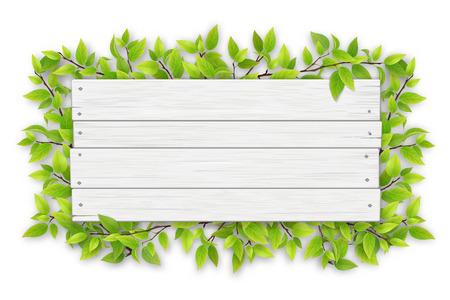 Letrero de madera blanco vacío con espacio para texto sobre un fondo de ramas de árboles con hojas verdes. Ilustración de vector