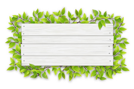 Empty white wooden sign with space for text on a background of tree branches with green leaves. Vettoriali