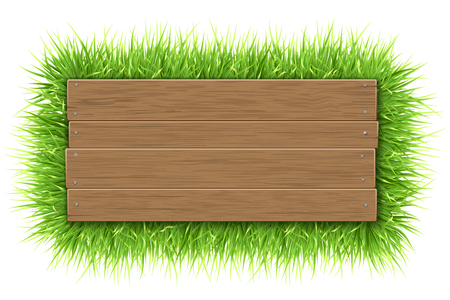 Empty wooden sign with space for text on a green grass background. The template for a banner or an advertisement for a seasonal discount.