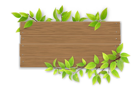 Empty wooden sign with space for text on a background of tree branches with green leaves. The template for a banner or an advertisement for a seasonal discount. Illustration