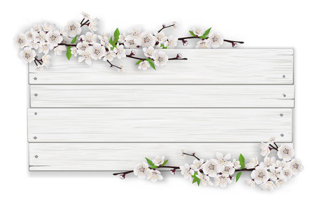 Empty white wooden sign on a blossoming tree branch frame background. The template for a banner or an advertisement for a seasonal discount. Illustration