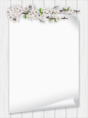 Blank sheet of paper with spring flower branch on a white wooden background.