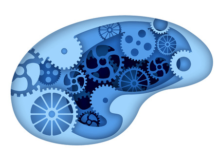 Man brain with gears inside. Paper cut art style vector illustration. Illustration