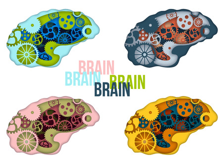 Set of man brain with gears inside. Paper cut art style vector illustration.