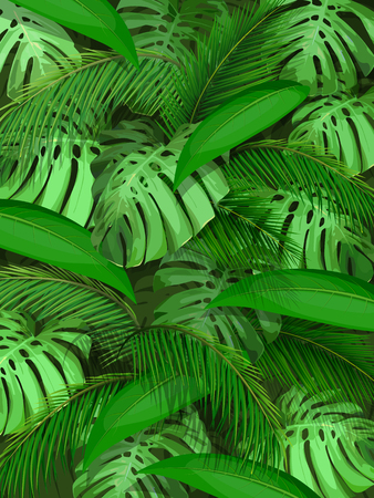 Palm leaf and monstera pattern design