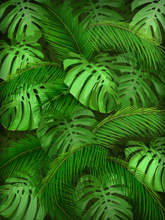 Summer background with tropical leaves. Palm and monstera leaves for invitation card, wallpapers or textile design.