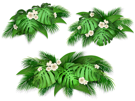 Summer composition with exotic leaves.  Set of bush tropical palm leaves, monstera and flowers for web page background, wallpaper, textile or poster. Illustration