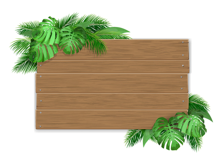 Empty wooden sign decorated with tropical leaves. Billboard with a place for advertising or invitations. Illustration