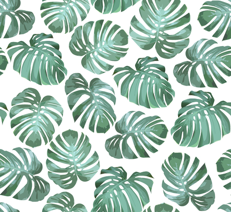 Tropical seamless pattern with green monstera leaves on white background. Tropical vector background for print or textile. Illustration