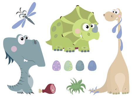 Set of cute dinosaurs in cartoon style. Reptiles of the Jurassic period.