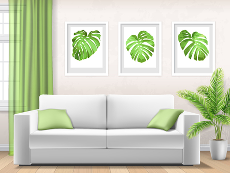 Modern interior of living room with window, white sofa and palm tree leaves in pot. Vector 3d realistic style.