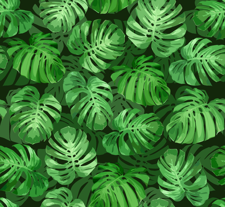 Tropical seamless pattern with green monstera leaves. Tropical vector background for print or textile.