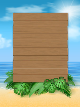 Wooden sign with tropical leaves on sea beach background. Vector illustration of a summer vacation with a whiteboard for advertising.