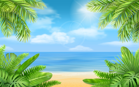 Sea beach and tropical bushes. Vector background with exotic plants for design vacation or travel advertising card.