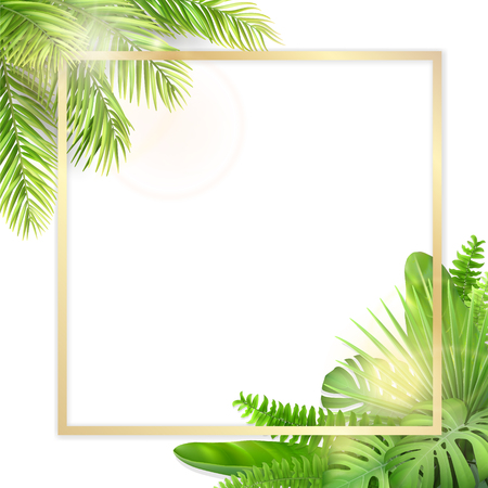 Square golden frame with tropical leaves. Tropical label or invitation card with space for text. Realistic vector exotic plants.
