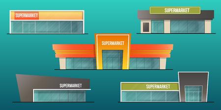 Conjunto de edificios de supermercado y tienda local aislada ilustración vectorial