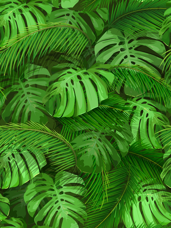 Seamless pattern of tropical leaves. palm and monstera foliage for invitation card, wallpapers or textile design Illustration
