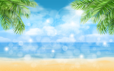 Sea beach with palm trees and glare. Background for illustration of summer vacation..