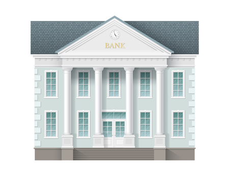 Front view of bank building. Traditional classic architecture of building with beautiful entrance and columns. Illustration