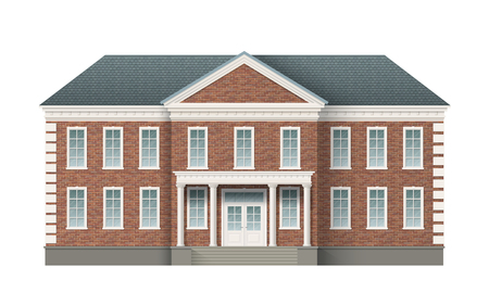 Front view of brick administrative governmental building with grey roof. Traditional classic architecture of building with beautiful entrance and columns. Illustration