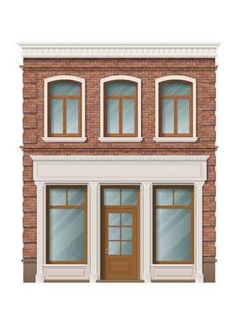 Old brick building facade with windows and shop on ground floor. Traditional classic architecture of front building. Storefront with large windows on the ground floor. Illustration