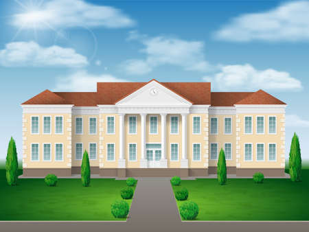 Front view of administrative, governmental, school or college building. Traditional classic architecture of building with beautiful entrance and columns. Illustration
