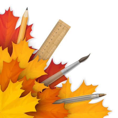 Welcome back to School template for card or banner. School supplies: pencil, ruler and brush in a autumn maple leaf on a white background. Vector realistic illustration. Illustration