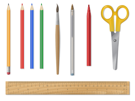 A set of school or office supplies. Stationery items. Writing utensils. Detailed realistic vector. Illustration