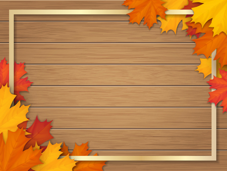 Golden frame decorated of fallen maple leaves. Autumn foliage on the background of a wooden vintage table surface. Realistic vector illustration.