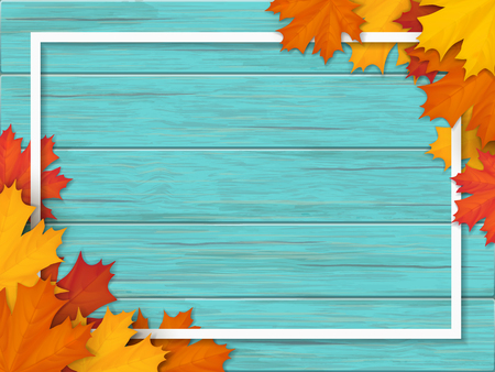 White frame decorated of fallen maple leaves. Autumn foliage on the background of a wooden vintage table surface. Realistic vector illustration. Stock Photo